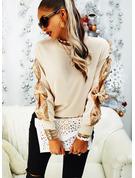 Rundhalsausschnitt Lässige Kleidung Pailletten Einfarbig Pullover