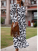 Print Shift 3/4 Sleeves Maxi Casual Vacation Dresses