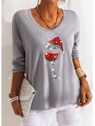 Sequins V-Neck Long Sleeves Casual Christmas T-shirt