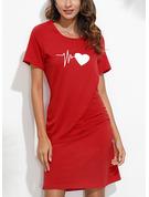 Tisk Pouzdrové Krátké rukávy Mini Neformální tričko Módní šaty