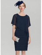 Sheath/Column Scoop Neck Knee-Length Chiffon Mother of the Bride Dress With Ruffle