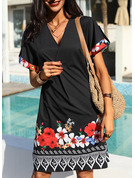 Solid Shift Short Sleeves Mini Boho Casual Tunic Dresses