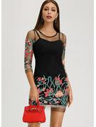 Broderier Blomster Skiftekjoler 3/4 ærmer Mini Casual Tunika Mode kjoler
