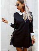 Color Block Skiftekjoler Lange ærmer Mini Elegant Tunika Mode kjoler