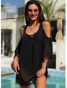 Blonder Solid Skiftekjoler 3/4 ærmer Kold-skulder ærmer Mini Den lille sorte Casual Ferie Tunika Mode kjoler