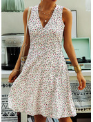 Floral Print A-line Sleeveless Midi Casual Skater Dresses
