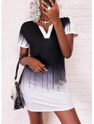 Impresión Degradada Vestidos sueltos Manga Corta Mini Casual Vestidos de moda