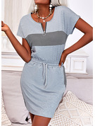 Tela escocesa Impresión Cubierta Manga Corta Mini Casual Vestidos de moda