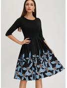 Impresión Vestido línea A Mangas 1/2 Midi Estilo de la vendimia Elegante Vestidos de moda
