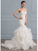 Trumpet/Mermaid Sweetheart Sweep Train Organza Lace Wedding Dress