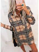 Plaid Shift Long Sleeves Mini Casual Shirt Dresses