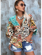 Leopard Druck V-Ausschnitt 3/4 Ärmel Mit Knöpfen Lässige Kleidung Hemd Blusen