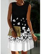 Trozos de color Floral Impresión Vestidos sueltos Sin mangas Mini Elegante Vestidos de moda