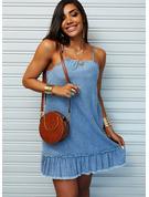 Solid Shift Sleeveless Mini Denim Casual Vacation Type Dresses