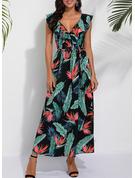 Print A-linjeklänning Ärmlös Maxi Party Sexig skater Bolerojackor Modeklänningar