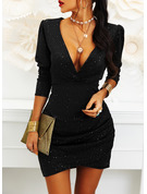 Solid Bodycon 3/4 Sleeves Puff Sleeves Mini Little Black Party Elegant Dresses