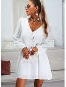 Solido Abiti dritti Maniche lunghe Mini Casuale Tunica Vestiti di moda