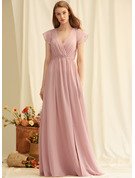 A-line V-Neck Sleeveless Maxi Romantic Sexy Dresses