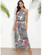 Nadruk Sukienka Trapezowa Bez Rękawów Maxi Boho Nieformalny Wakacyjna Modne Suknie