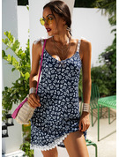Lace Print Shift Sleeveless Mini Casual Vacation Dresses