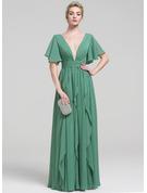 A-Linie/Princess-Linie V-Ausschnitt Bodenlang Chiffon Abendkleid mit Perlstickerei Gestufte Rüschen
