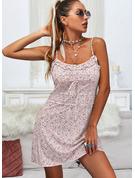 Kwiatowy Nadruk Pokrowiec Bez Rękawów Mini Nieformalny Rodzaj Modne Suknie