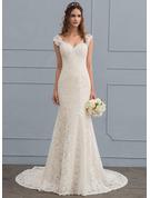 Раструб/Платье-русалка V-образный Церемониальный шлейф Кружева Свадебные Платье