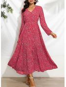 Nadruk Sukienka Trapezowa Rękawy 1/2 Maxi Nieformalny Wakacyjna Łyżwiaż Modne Suknie