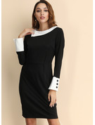 Solid Bodycon Long Sleeves Midi Casual Elegant Pencil Dresses