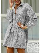 Leopard Print Shift 3/4 Sleeves Mini Casual Vacation Shirt Dresses