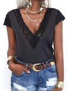 Spitze Einfarbig V-Ausschnitt Kurze Ärmel Mit Knöpfen Lässige Kleidung Hemd Blusen