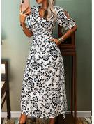 Blomster Print Kjole med A-linje 3/4 ærmer Split ærmer Midi Casual Elegant skater Mode kjoler