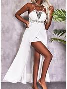 Einfarbig A-Linien-Kleid Ärmellos Maxi Lässige Kleidung Urlaub Skater Modekleider