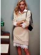 Spitze Lange Ärmel Lässige Kleidung Modekleider
