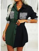 カラーブロック スパンコール シースドレス 長袖 ミニ カジュアル シャツワンピース ファッションドレス