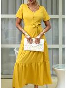 Einfarbig A-Linien-Kleid Kurze Ärmel Maxi Lässige Kleidung Urlaub Skater Modekleider
