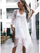 Lace Solid Shift 3/4 Sleeves Maxi Boho Vacation Dresses