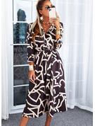 Print Kjole med A-linje 3/4 ærmer Midi Casual Skjorte skater Mode kjoler