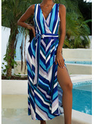 Striped A-line Sleeveless Maxi Party Sexy Skater Wrap Dresses