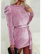 固体 シースドレス 長袖 パフスリーブ ミニ リトルブラックドレス エレガント ファッションドレス