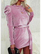 Solid Sheath Long Sleeves Puff Sleeves Mini Little Black Elegant Dresses