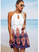 Tisk Šaty Shift Bezrukávů Mini Neformální Módní šaty