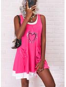 Impresión Corazón Vestidos sueltos Sin mangas Midi Casual Vestidos de moda
