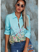 Floral Print Lapel Long Sleeves Button Up Casual Shirt Blouses