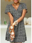 Floral Imprimeu Bir Çizgi Mâneci Scurte Mini gündelik Zarif Patenci Moda Elbiseler