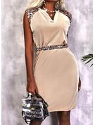 Leopard Print Sheath Sleeveless Midi Casual Dresses