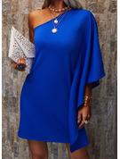 Solid Shiftklänningar Långa ärmar Mini Fritids Modeklänningar