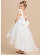 Ball-Gown/Princess Asymmetrical Flower Girl Dress - Tulle Sleeveless V-neck With Beading/Flower(s)/Bow(s)