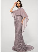 Sheath/Column High Neck Sweep Train Chiffon Lace Evening Dress