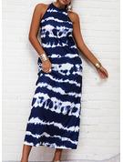タイダイ 印刷 シフトドレス ノースリーブ マキシ カジュアル ファッションドレス